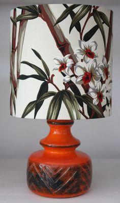 tropical table lamp with bamboo barkcloth shade.