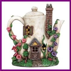 No Fairy Garden should be without this new addition Lighted Coffee Po... Find out more here   http://www.fairygardenfun.net/products/lighted-coffee-pot-fairy-house-424?utm_campaign=social_autopilot&utm_source=pin&utm_medium=pin