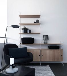 Black white and natural tones where the colors we used for this loft project we made couple of months ago. See more in our website. Link in bio if you like and live us your comments. Its Friday! Shelf System, Shelving Systems, Interior Styling, Interior Design, Design Interiors, Alcove Storage, String Shelf, String System, Scandinavian Design