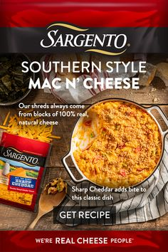 It's a mac & cheese that even the most dedicated Southerner would appreciate. This taste of the South calls for plenty of Sargento® shredded-from-the-block Cheddar cheese. Serve it as a side dish or the star of the show. taste of home best recipes Casserole Recipes, Crockpot Recipes, Pork Recipes, Chicken Recipes, Cooking Recipes, Recipies, Macaroni Cheese Recipes, Mac Cheese, Cheddar Cheese