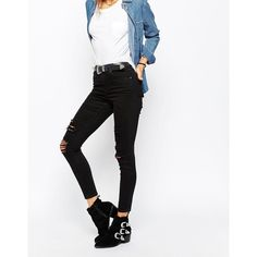 ASOS Ridley High Waist Skinny Jeans in Black with Shredded Rips ($52) ❤ liked on Polyvore featuring jeans, black, super high-waisted skinny jeans, stretch skinny jeans, distressed jeans, high-waisted jeans and skinny fit jeans