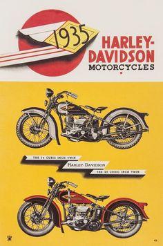 ANONYMOUS HARLEY DAVIDSON, 1935. Vintage Poster auction, 7/16. Leave bid now or bid live beginning at 9am EST. Starting bid: £180