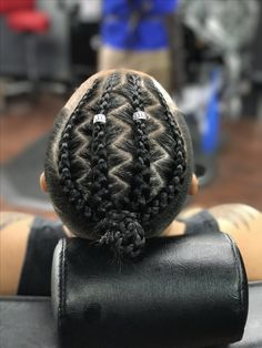 Wavy Centre-Parted Tree Braids - Top 25 Tree Braids Hairstyles - The Trending Hairstyle Cornrow Hairstyles For Men, Tree Braids Hairstyles, Dope Hairstyles, Black Men Hairstyles, Braid Styles For Men, Braided Man Bun, Braids For Boys, Curly Hair Styles, Natural Hair Styles