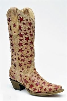 Women's Corral Boots Antique Saddle & Red Stars Cowgirl Boots