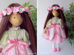 Cloth brunette doll Daisy Gift for girl Doll with pink flower crown Doll in floral dress Doll with long hair Doll in pink dress by BonecasDaYulia on Etsy