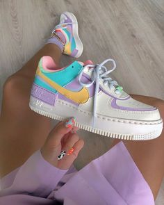 Back to the with these amazing new sneakers from Nike. They come in the original design of the Air Force 1 but then with double layered details. In beautiful pastel rainbow colors. Named Nike Air Force 1 Shadow Pale… Zapatillas Nike Air Force, Nike Af1, Nike Shoes Air Force, Nike Air Max, Nike Air Force 1 Outfit, Nike Air Force Low, Souliers Nike, Aesthetic Shoes, Aesthetic Fashion