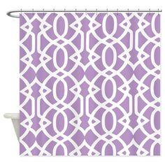 African Violet & White Trellis Shower Curtain on CafePress.com