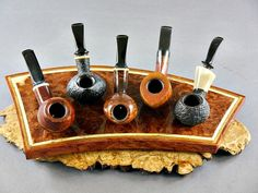 Red Collibah Burl 5 Pipe Stand | Exotics - Handmade Pipe Stands by Neal Yarm