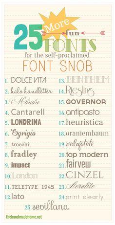 the font snob club: 25 more free fonts {feb 2014} | the handmade home