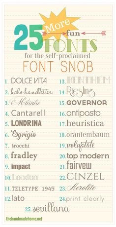 the font snob club: 25 more free fonts {feb 2014} | the handmade home  ~~ {25 Free fonts w/ easy download links ~~ many free for commercial use!}
