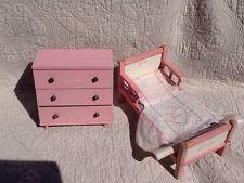 1950's Pink Ginny Bed, Mattress, Spread, Pillow, Dresser