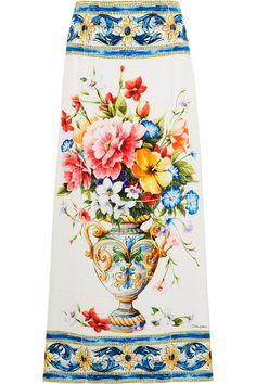 Dolce & Gabbana - Floral-print Stretch-silk Midi Skirt - Blue