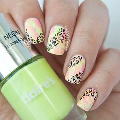 paulinaspassions:  Bright, neon leopard print nails on the BLOG...