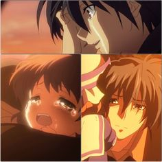 Clannad  that part on the train...ugh!!!!!  jeez, watching After Story was quite an experience of heart wrenching tragedy.