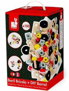 This is a real box of fun! The Janod DIY construction set includes 100 wooden pieces of nuts, screws, bolts, washers, plates and blocks. Use these to build wonderful contraptions that stimulate your child's imagination. Use the suggestions in the box o Christmas Wishlist 2017, Christmas 2016, Diy For Kids, Crafts For Kids, Minis, Wooden Buildings, Imaginative Play, Building Toys, Wooden Diy