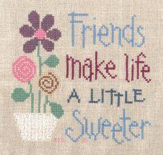 Cross Stitch Owl, Cross Stitch Quotes, Cross Stitch Cards, Cross Stitching, Cross Stitch Patterns, Traditional Christmas Ornaments, Lizzie Kate, Friendship Gifts, Friendship Quotes