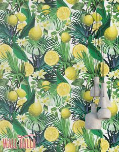Lemon and Citris Blossom Wallpaper - Removable Wallpaper - Palm and Leaves Wallpaper - Floral Print - Tropical Peel and Stick Wallpaper