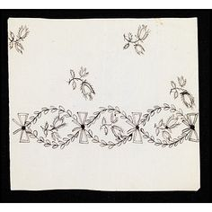 This is a design for embroidery on muslin or gauze. It is probably for the border of a petticoat to a woman's open gown or for the border of the gown itself. Note the sideways bows. Above the bottom embroidery band it appears sprigs are scattered. This design is inscribed 'Miss Pelham (Stanmer)'  V 1782