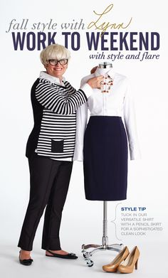 """Cleo Fall Style with Lynn Spence: Style Tip """"Tuck in the versatile shirt with a pencil skirt for a sophisticated clean look! Mature Women Fashion, Womens Fashion, Plus Size Women, Plus Size Fashion, How To Look Better, Personal Style, Cool Outfits, Autumn Fashion, Hair Makeup"""