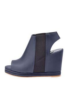 Open-Toe Leather Wedge Bootie, Black