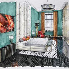 "Проект ""Все краски джаза"". Спальня второго брата. Дизайнер: Раиса Бутина"