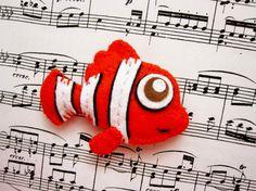 Belo the clown fish  felt brooch animal brooch or by mirkajakabova