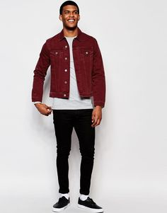 Image 4 ofASOS Slim Denim Jacket in Burgundy