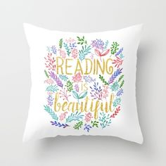 Reading is Beautiful - Gold Foil - White Throw Pillow