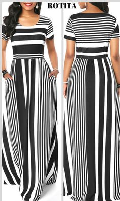 Round Neck Stripe Print Short Sleeve Maxi Dress A really casual strip dress ,dress it you must feel comfortable,check it out. Party Dress Sale, Club Party Dresses, Summer Dress Outfits, Modest Outfits, Modest Clothing, Maxi Dress With Sleeves, Dress Skirt, Latest Dress For Women, Beautiful Long Dresses