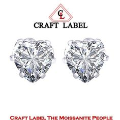"""1.5 Ct Diamond Heart Cut 14K Gold 6 Prong Stud Earrings 5mm """"Mother\'s Day Gift"""". Starting at $1"""