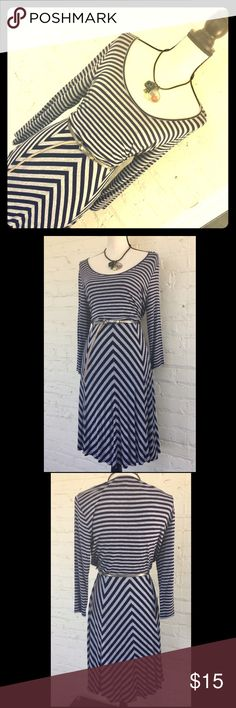 "Calvin Klein navy stripe jersey knit dress Jersey/t-shirt knit long-sleeves dress. This is as comfy as dresses get! Perfect for fall paired with boots and a chunky scarf. Belt not included. Waist: 32"" plus stretch. Skirt length: 25"" from waist. Calvin Klein Dresses Midi"