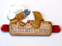 Ginger on Rolling Pin Ornament or Fridge Magnet, Handpainted Wood Gingerbread, Kitchen Closed by ToleTreasures on Etsy