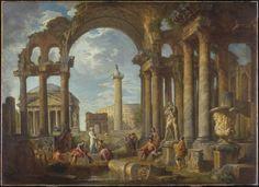 A Capriccio of Roman Ruins with the Pantheon, c. 1755  Giovanni Paolo Panini (Italian, 1691 - 1765)