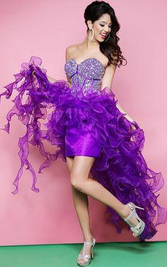 Purple Embellished Corset Prom Dress With Hi-low Ruffles [Purple Hi-low Ruffles] - $175.00 : Cheap Prom Dresses, Bracelets, High Heels Online--DressinTrends