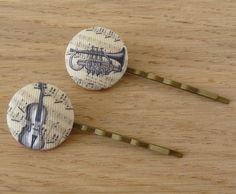 Musical Instruments Hair Pins, Retro Fabric, Covered Button, Music Jewelry, Girls Kids, Violin Trumpet, Hair Accessories Bobby Pin Hair Clip