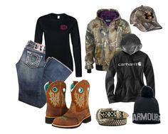 """Farm Girl"" by im-a-jeans-and-boots-kinda-girl ❤ liked on Polyvore featuring True Religion, Walls, Carhartt, Ariat, Under Armour, country, life, camo, farm and jeanstshirtandbootskindagirl"
