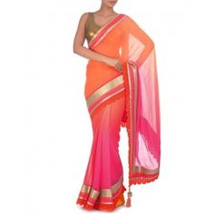 #ExclusivelyIn #ExclusivelyEOSS Ombre Hot Pink and Orange Sari with Sequin Blouse