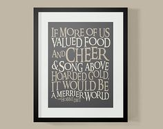 Lord of The Rings Inspired Food & Cheer Typography Poster