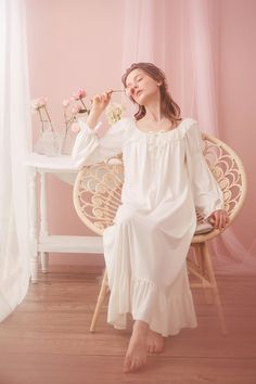 9c02805ad9 Sweet Desire Cotton Lace Royal Style Night Gown Long Sleeves Women Spring