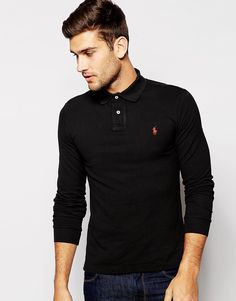 Polo Ralph Lauren Long Sleeve Polo Shirt in Slim Fit saved by #ShoppingIS