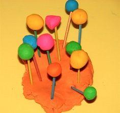 Playdough and matchstick sculptures