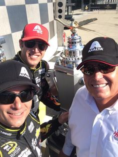 Jeff Gordon, Alan G. and Rick Hendrick in Victory Lane at Indy...July, 2014