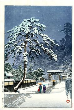 Kawase Hasui - Hommonji temple in snow, 1931.