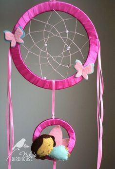 Pink Dreamcatcher with fairy for kids - room decor - nursery mobile