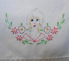 "Embroidered Lady Table Runner Vintage White Cotton and Crochet Trim Pink Green Yellow Purple 17.5"" x 45"" Wedding Party Shower Southern Belle by VintageBabyByKay on Etsy"