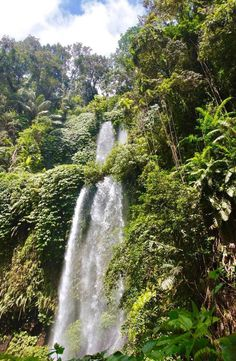 Sendang Gile Waterfall is located just north of Rinjani volcano, In the north region of the island of Lombok in Indonesia. Lombok, Volcano, Waterfalls, Bali, Island, Pictures, Outdoor, Block Island, Outdoors