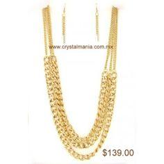 Set de collar y aretes dorados en forma de cadena estilo 30187
