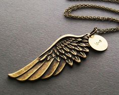 Angel Wing Charm Necklace in Antique Brass Chain. Inspirational. Symbolic. Love. ON SALE