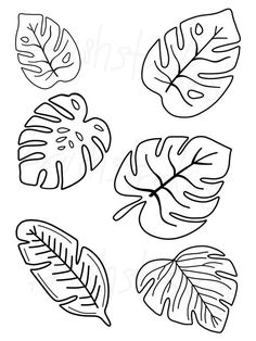 Tropical Greenery - Monstera - Leaves Silk Screen Modern lettering can be easy for everyone! Personalize your projects with Brush Strokes Pottery's Leaf Template Printable, Owl Templates, Heart Template, Applique Templates, Embroidery Patterns, Hand Embroidery, Felt Patterns, Deco Jungle, Leaf Drawing
