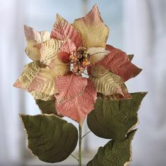 Sparkling Green and Rose Artificial Poinsettia Stem